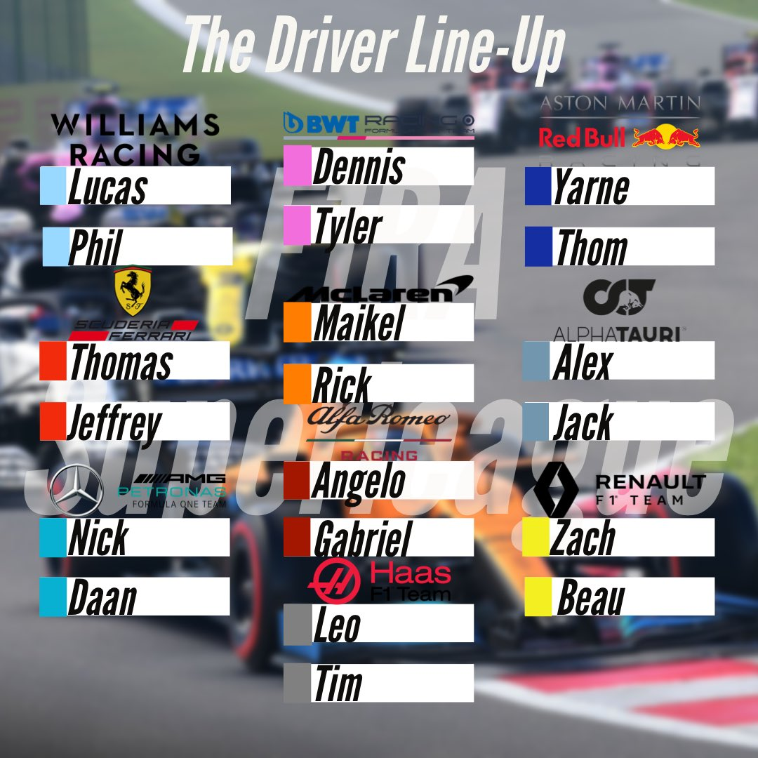 We've Finally completed the driver line-up for the superleague!   Who is gonna win?   #f1racingalliance #F1RA #f1 #f1memes #f1racing #f12020 #f12020game #f1game #leagueracing #f1league #formula1 #formulaone https://t.co/6StC76XI5x