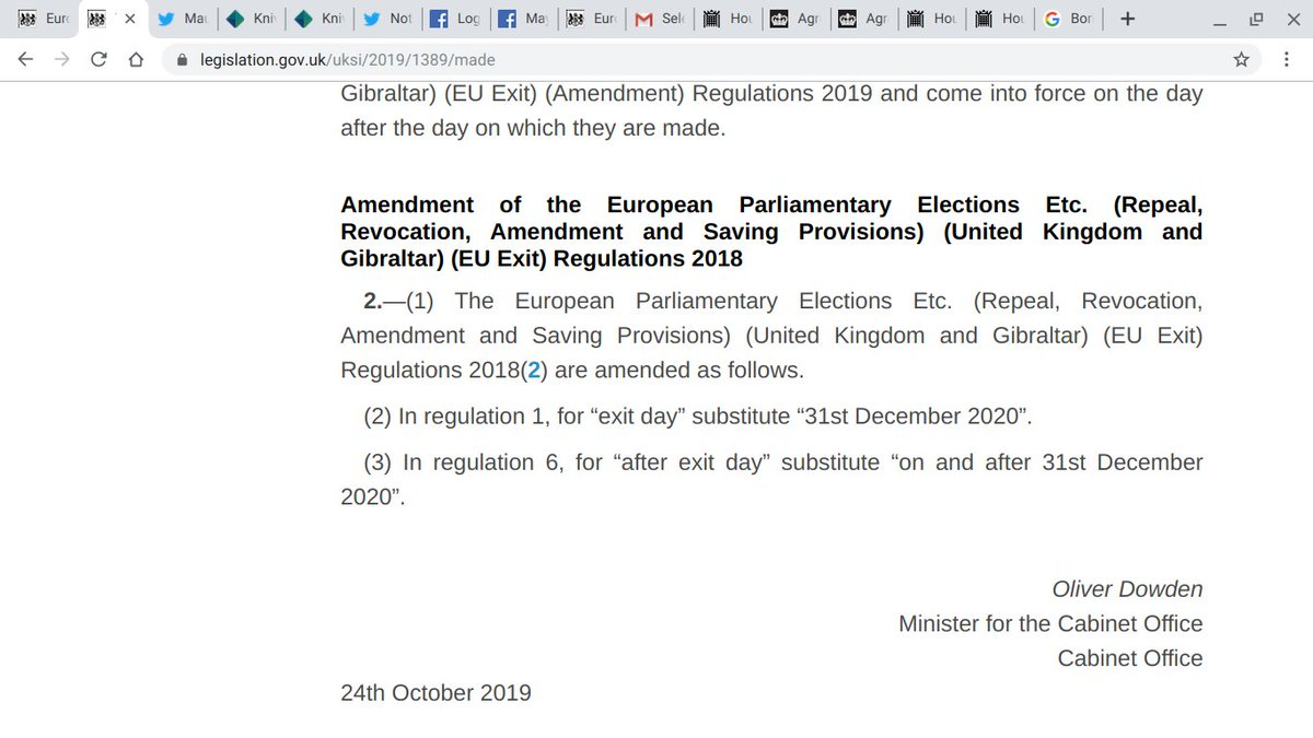 LINK to SI 2019/1389: https://t.co/6TJZG7adkp  The link above & the screenshot below proves that Article 50 was extended till 31 December 2020, so UK can revoke till then but they don't want us to know till it's too late. https://t.co/26fAQ2UktO