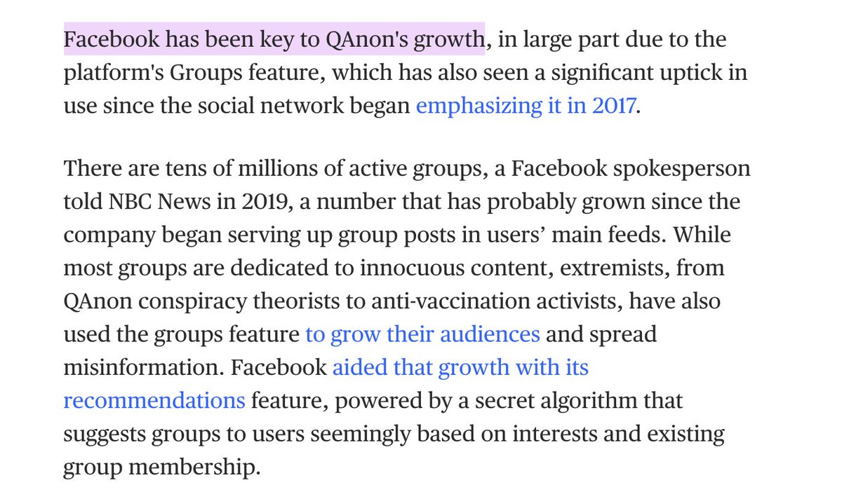 Facebook knows QAnon is a potential terrorist threat, including to its own employees. Its not a hard decision to ban them, yet Facebook is still struggling to decide and its employees dont think theyll get it right. nbcnews.com/tech/tech-news…