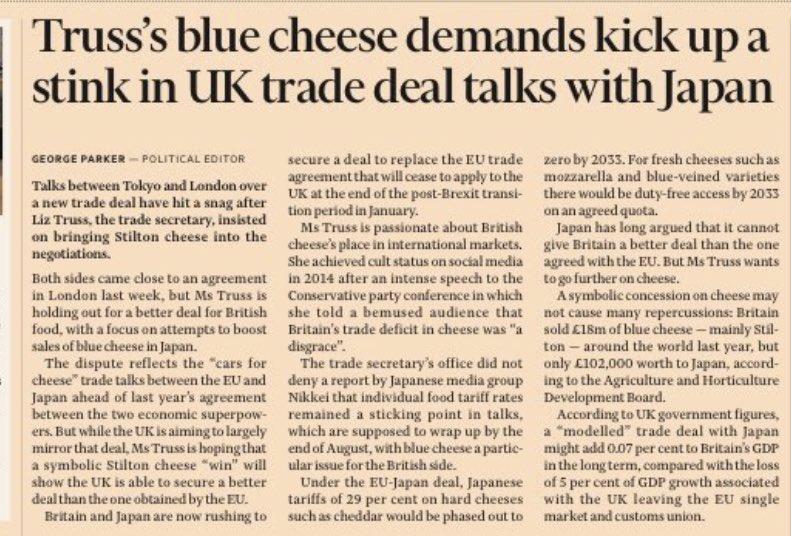 Brexit status - Liz Truss is hoping for a 'symbolic Stilton win' https://t.co/NgDcFLkpFV