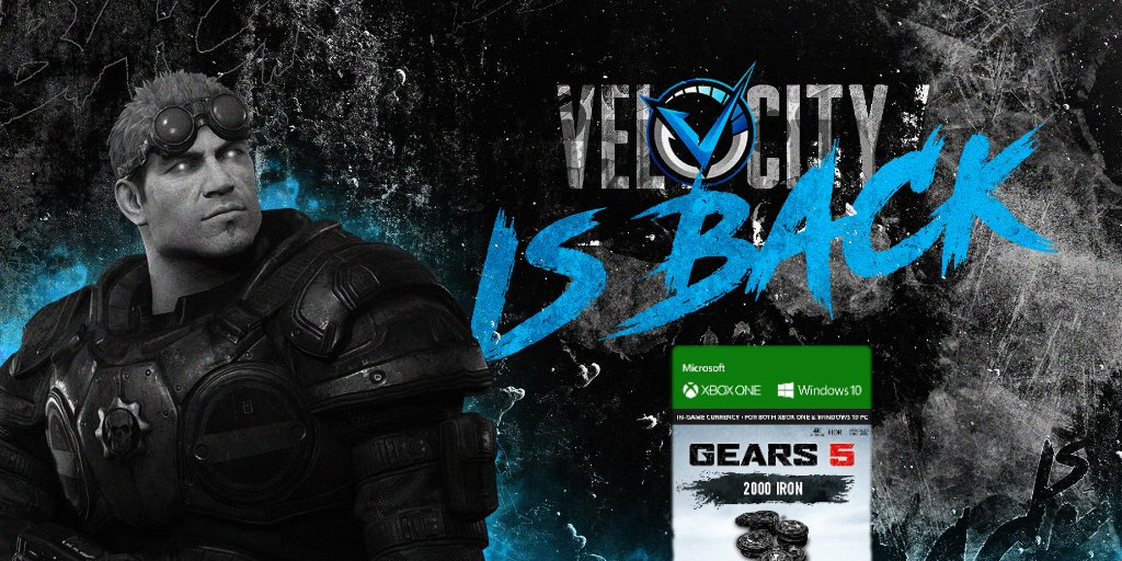 We're back! And to celebrate our return we're giving away 2,000 Iron for Gears 5.  To enter follow us on Twitter, then like and RT this post. A winner will be announced on 08/15/2020.   Good luck & GodSpeed! #TeamVelocity ⚡️ https://t.co/8HiceGKTTN