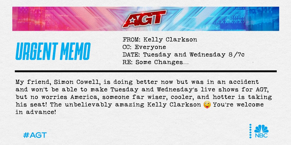 URGENT MEMO.... from yours truly! 😜 @AGT @SimonCowell #AGT