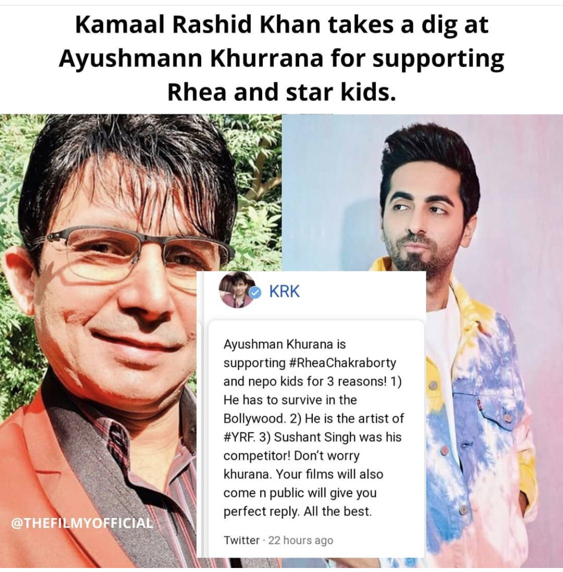 @ayushmannk SHAME ON YOU..!! #Snake How could you not be on & support the side of Justice. I just hope they don't repeat #SSRMurderCase on you some day. Greed, Money, Power and Fame made you choose wrong path. #BoycottBollywood #BeHumanNotASlaveOfBollywood #J4SSR @AashishVashist7pic.twitter.com/Pr3kKLbKmP