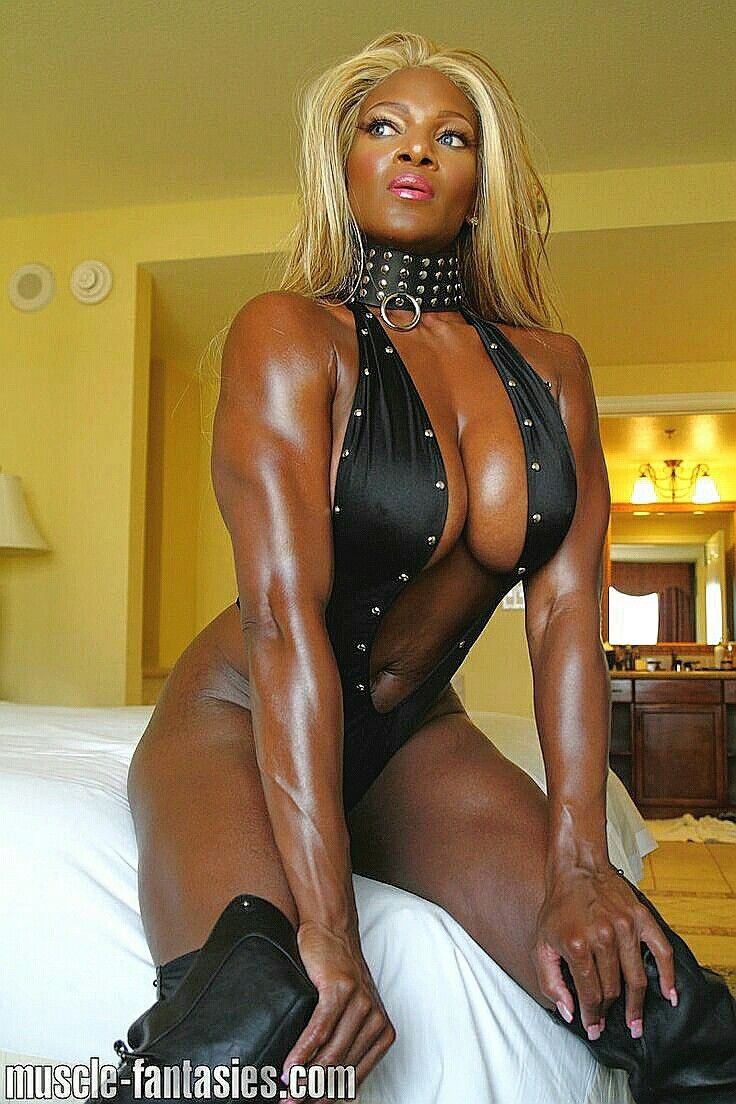 Ebony strap on domination
