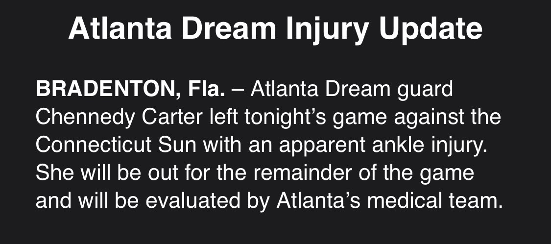 Not good. @ChennedyCarter out with ankle injury. https://t.co/cXIQYeoHPm
