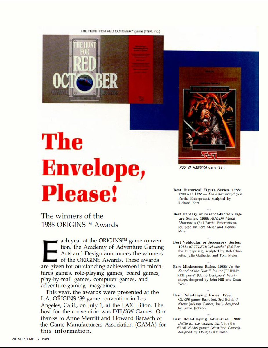 Here I thought Pool of Radiance never got the critical accolades it deserved. 1989's Origin Awards under Best Fantasy or Science Fiction Computer Game! (it deserved more) pic.twitter.com/17omClhMx4
