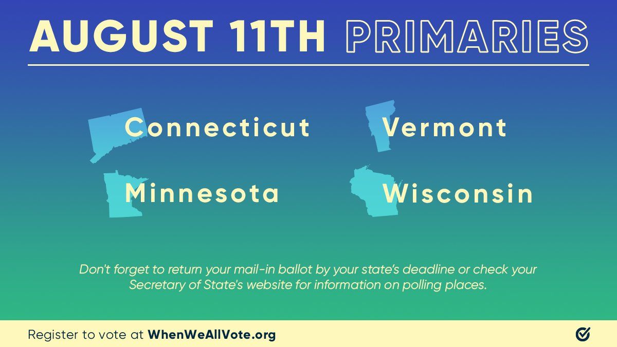 Tomorrow is #ElectionDay in CT, MN, VT, and WI! Return your #VoteByMail ballot before your state's deadline. If you are voting in-person, find your polling place and make a voting plan 📤 Follow @WhenWeAllVote for more resources 💪 https://t.co/J8Ox1xzAkJ