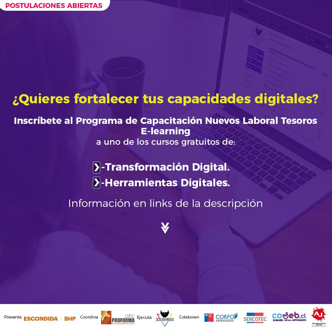 Hola amig@s! Ayúdennos a correr la voz sobre estos #CursosGratuitos de #TransformacionDigital para #Emprendedores y #Pymes de #Antofagasta, en formato #Elearning. Aquí hay más info: https://t.co/WdkimhiChN  Gracias a todos por compartir! 💛🙂 https://t.co/glCAmd0dGe