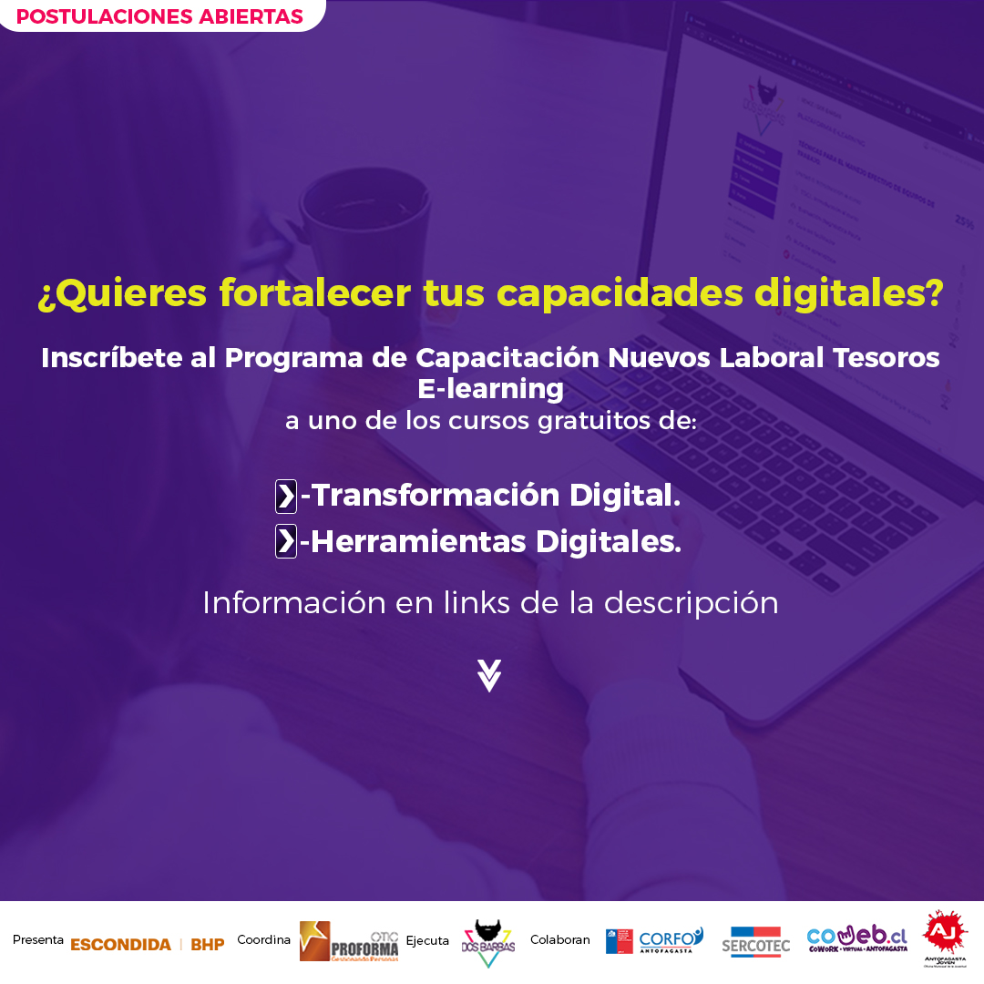 Hola amig@s! Ayúdennos a correr la voz sobre estos #CursosGratuitos de #TransformaciónDigital para #Emprendedores y #Pymes de #Antofagasta, en formato #Elearning. Aquí hay más info: https://t.co/hLU1qHVTbI  Gracias a todos por compartir! 💛🙂 https://t.co/ZvS7d0snS6