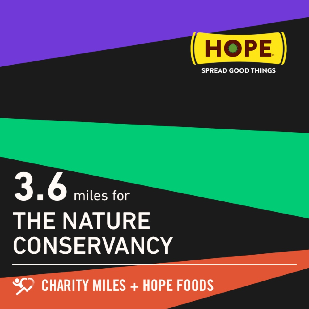 I walked 3.6 @CharityMiles for @nature_org. Thx @HopeHummus for sponsoring me! #SpreadHope https://t.co/9tQ897bFtY