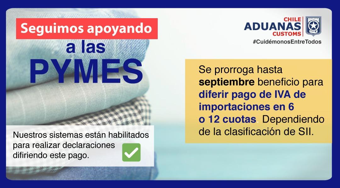 Atención #Pymes‼️ Se prorroga por 3 meses beneficio que permite diferir el pago de IVA de importaciones, una de las medidas especiales de @AduanaCL para apoyar a #emprendedores.   Detalles en 👉  https://t.co/IBbIKfl8Go  #AduanaTeProtege @SubseHacienda  @Corfo  @Sercotec_Chile https://t.co/uIqM2d0q32