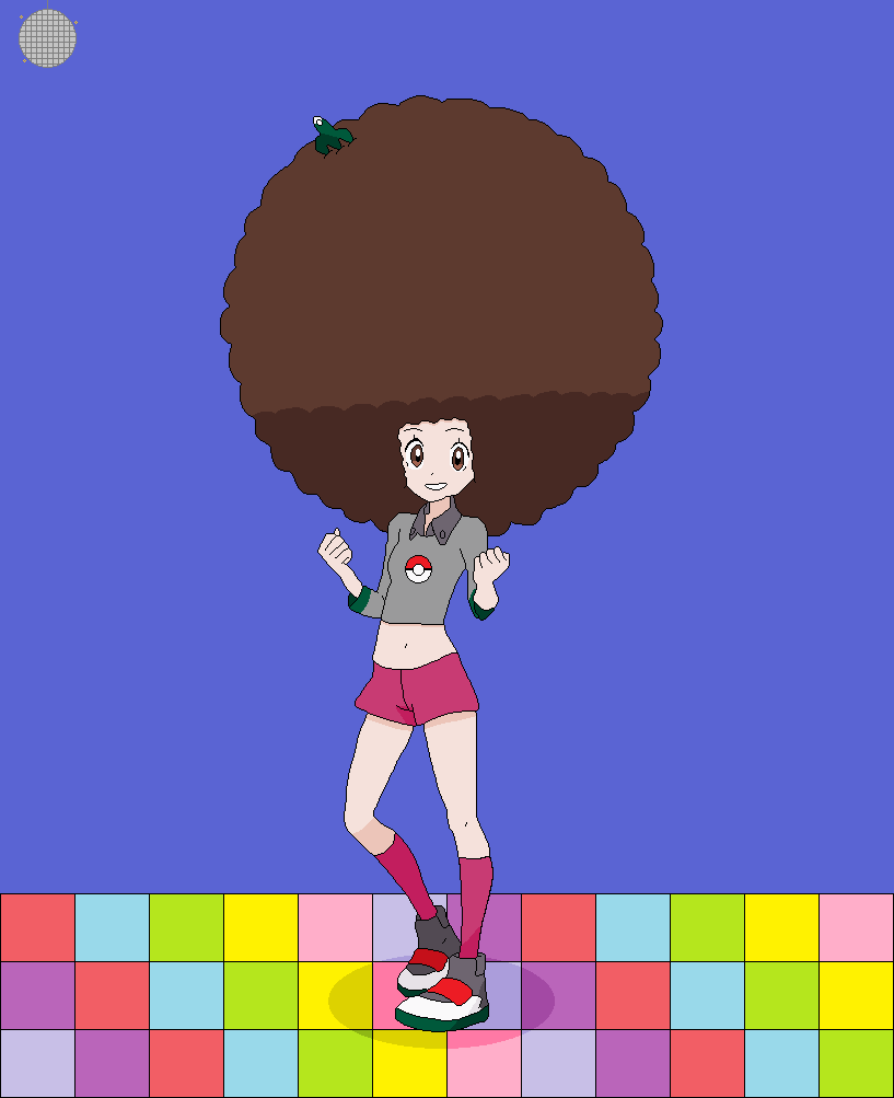 Here's a birthday gift for @moja_taishi, featuring a disco version of Gloria from Pokemon Sword & Shield, complete with an afro.  #afro #アフロ #ポケモン #Pokemon #Gloria #PokemonSwordandShield #pokemonSwSh #Discopic.twitter.com/XS4812vUUH