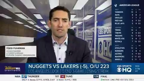 Nuggets vs Lakers (-5), O/U 223 @ToddFuhrman is going with Under 223