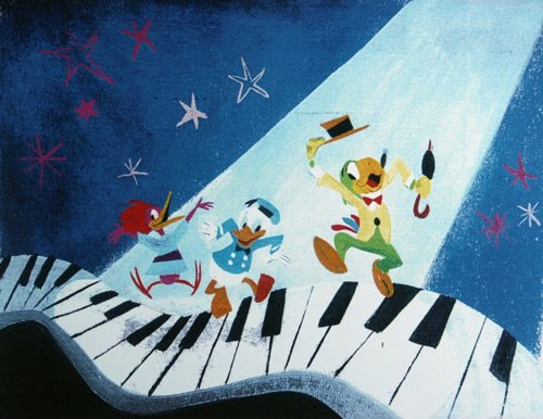 Mary Blair concept art for the Three Caballeros, though it's the every zany Aracuan here on the wavy piano keys. Three Caballeros (1944) #Animation #Disney pic.twitter.com/dcDw1p3YYN