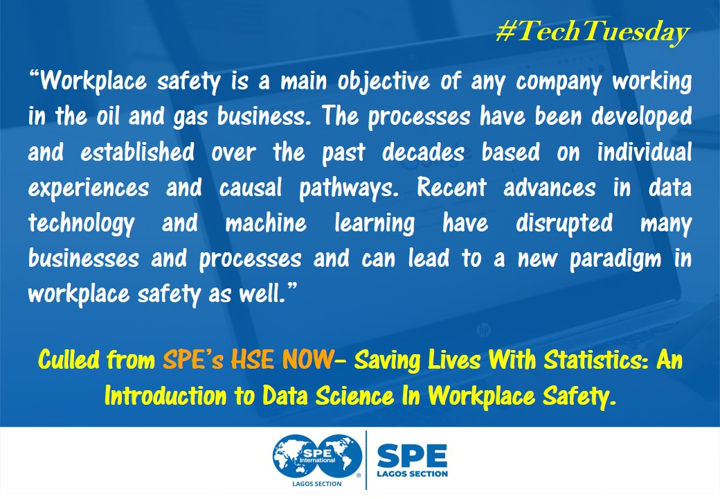 #TechTuesday  Article Title: Saving Lives With Statistics: An Introduction to Data Science In Workplace Safety.  Read more https://pubs.spe.org/en/hsenow/hse-now-article-page/?art=7436 …pic.twitter.com/kDTOf4FSyX