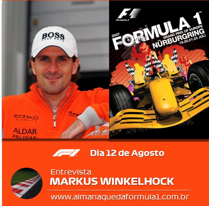 Anotem na agenda: dia 12 de agosto, entrevista com Markus Winkelhock lá no blog. Aguardem! #F1 #Formula1 https://t.co/4ZAHJt52fs
