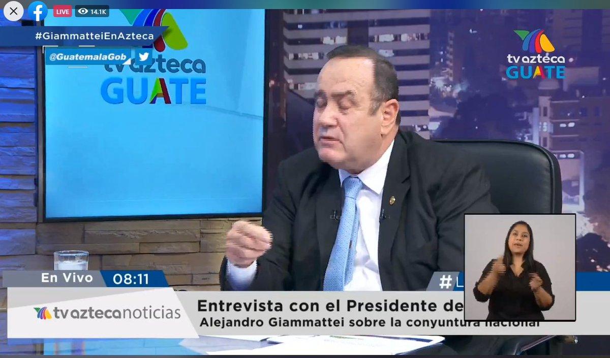 test Twitter Media - Inicia la entrevista del Presidente Alejandro Giammattei en TV Azteca, se le pregunta sobre la ejecución de los fondos aprobados por el Congreso por la pandemia COVID-19, los cuales se financiaron con préstamos. https://t.co/5TOXxBZGmc