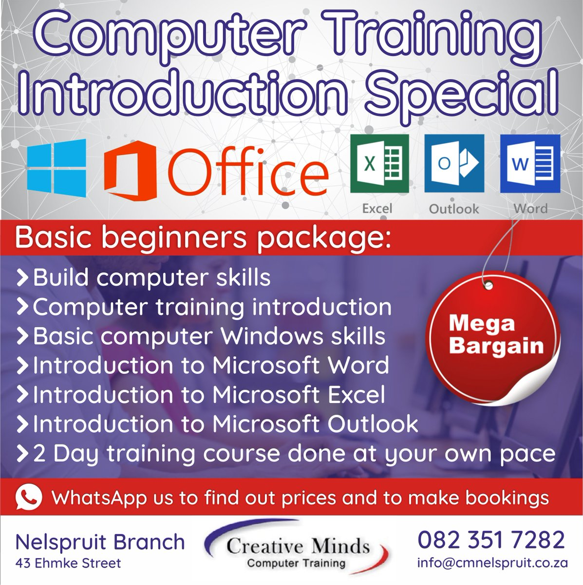 We are currently running a bargain offer on our Computer Introduction Training course of two days.  http://www.minds.co.za #creativeminds #computertraining #training #computers #technology #tech #computer #laptops #electronics #pc #instatech #gadgets #device #computersciencepic.twitter.com/VNLphI27N5