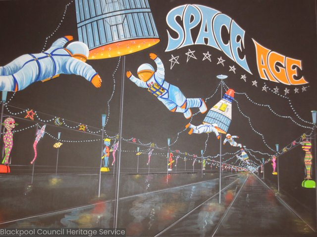 What year did Space Age first appear in the Blackpool Illuminations? #TriviaTuesday  Illuminations Artwork Collection pic.twitter.com/caDwMjYaG3