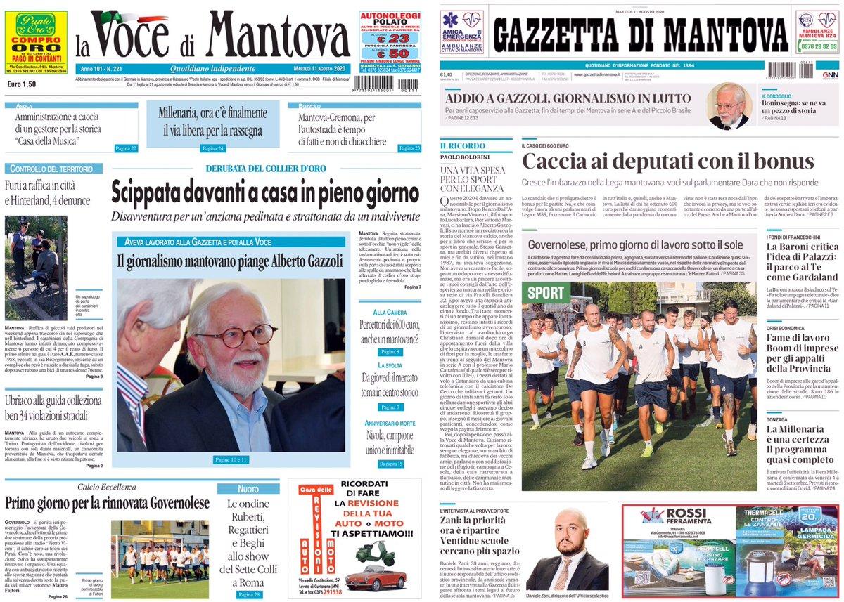 Prime pagine 11 Ago  2020  #mantova #informazione #notizie #giornali #presspic.twitter.com/WOBks67wfc