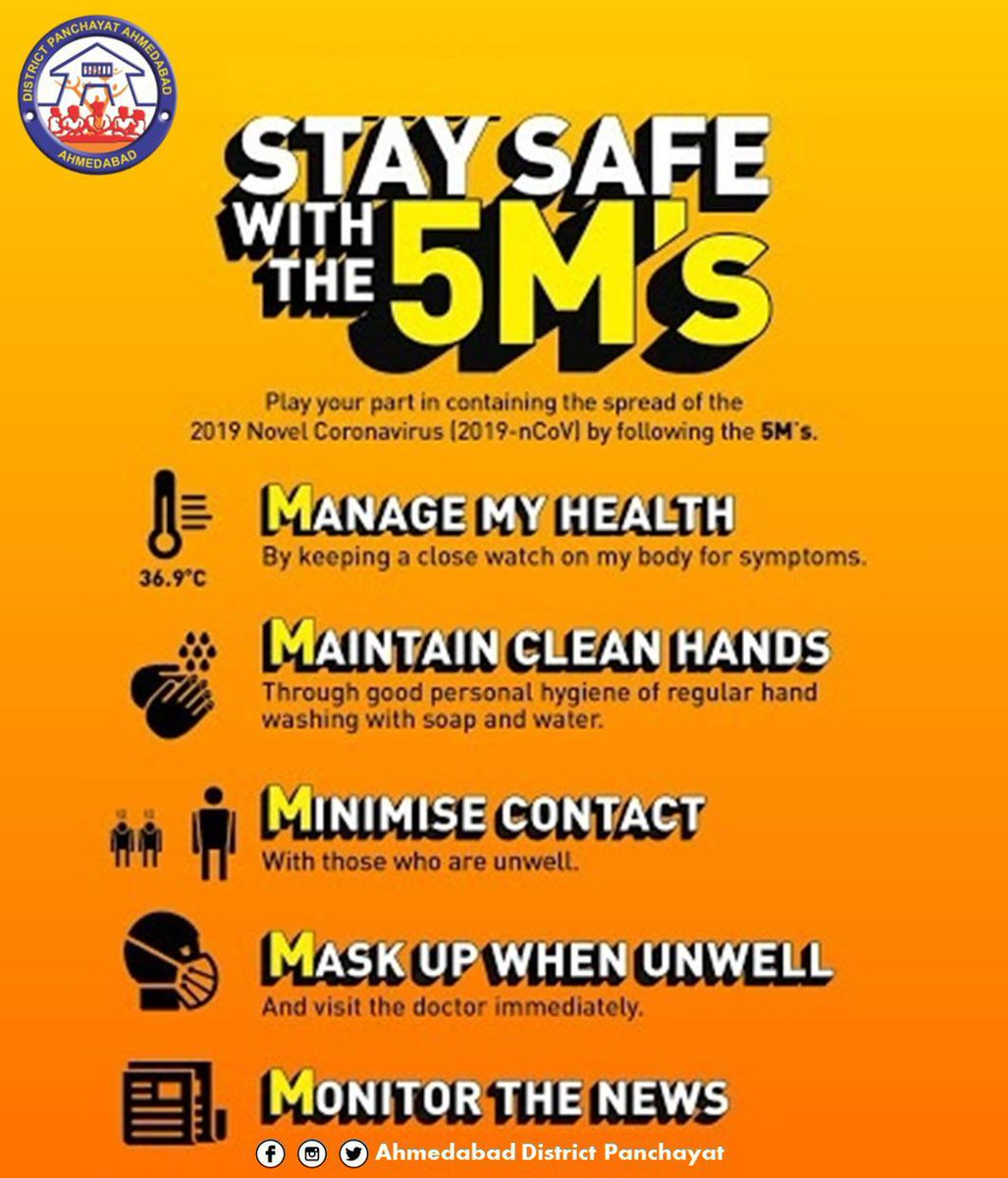 Stay safe with this 5Ms #AhmedabadFightsCorona #COVID19pic.twitter.com/XInI3Ho4Jp