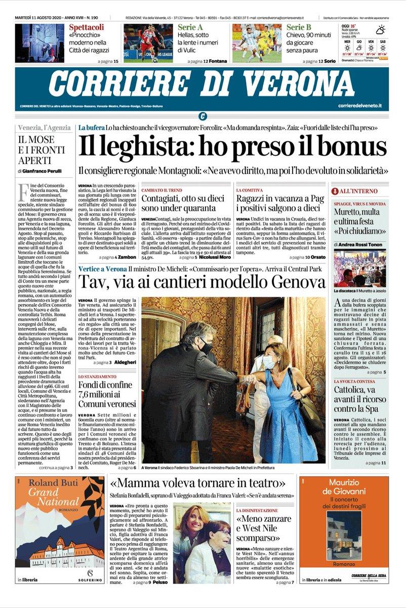 #verona Buongiorno con la prima pagina del Corrier...