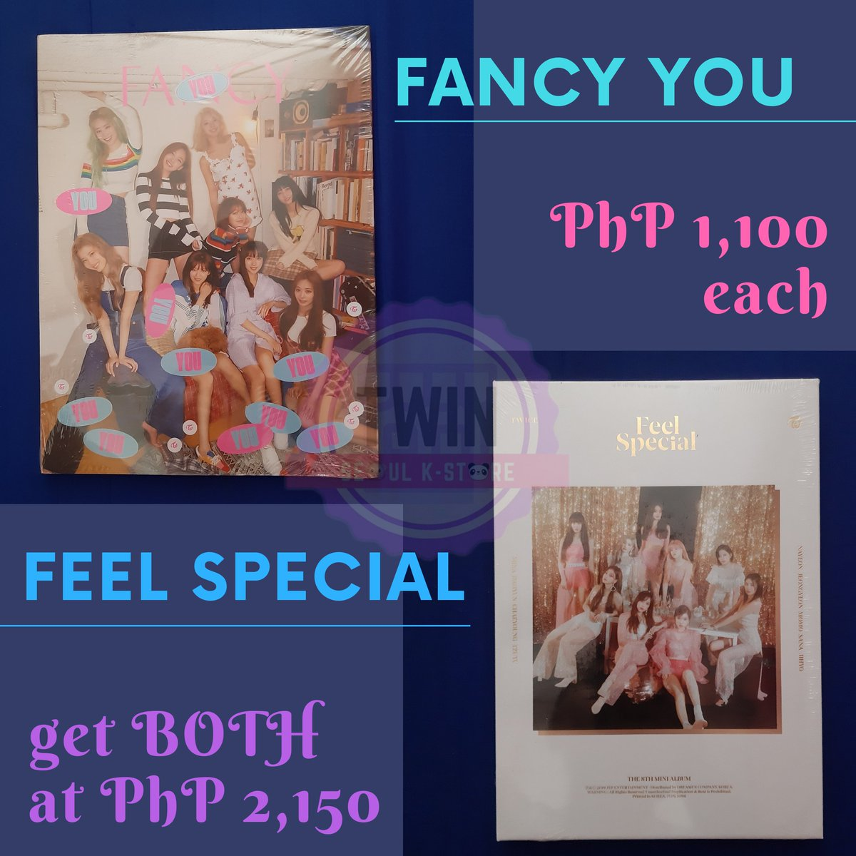 [TWICE ALBUMS]  ✅ Onhand ✅ Sealed ✅ Ready to ship ✅ Can be shipped through Shopee ✅ With store freebies  ✉ DM for inquiries 💓  #TwinSeoul #TSKSOnhand #Twice #Signal #FancyYou #FeelSpecial #Nayeon #Jeongyeon #Momo #Sana #Jihyo #Mina #Dahyun #Chaeyoung #Tzuyu https://t.co/E1tB5mrPj3