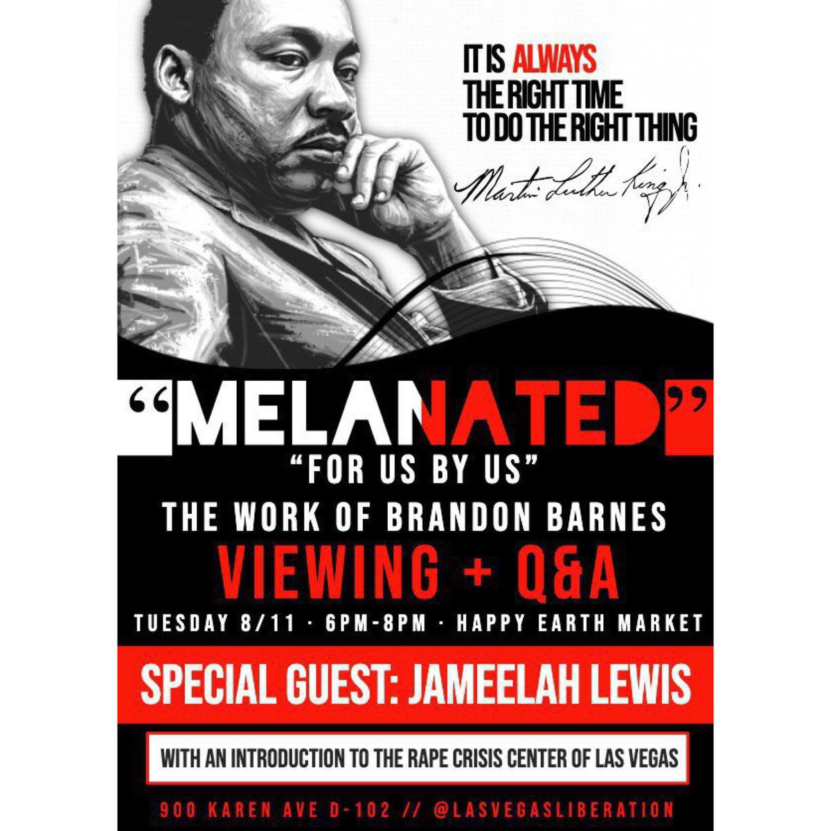 """Please join us tomorrow night from 6-8pm! We will be showing """"Melanated"""" by Brandon Barnes! We will be having a special guest Jameelah Lewis from the rape crisis center in Las Vegas! Hope to see you all there!"""