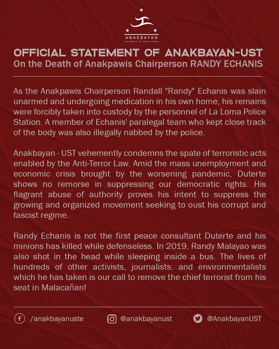 """Official Statement of Anakbayan-UST on the Death of Anakpawis Chairperson Randall """"Randy"""" Echanis  #JusticeForKaRandy #JunkTerrorLawNow #DuterTeroristapic.twitter.com/082lY0QFPa"""