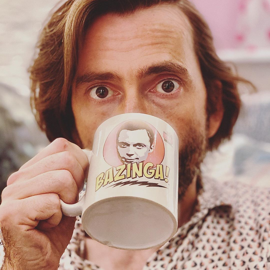 David Tennant with a Jim Parsons mug