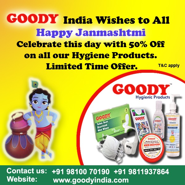 Goody Hygienic Products wishes you all a very Happy Janmashtmi.  And on this pious occasion, we are offering 50% discount on all our product range.  To order:  https://t.co/R1XHSOzMap https://t.co/1JnUcTefYU