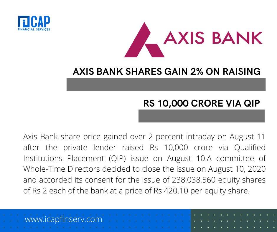 Axis Bank Shares Gain 2% on Raising Rs, 10,000  Visit: https://bit.ly/2Xhrgxt  #financialplanning #financialadvisor #investmentbanking #financialgoals #financialservices #trading #rakeshjhunjhunwala #nseindia #bseindia #tradingstocks #investor #investormindset #investorlifepic.twitter.com/j6OxncnlId