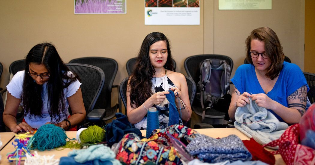 """""""Dr. Matsumoto argues that """"knitting is coding"""" and that yarn is a programmable material. The potential dividends of her research range from wearable electronics to tissue scaffolding.""""   Very cool overlap between the #science and art of #knitting! https://nyti.ms/2HLsz1dpic.twitter.com/FwOo1ux5qU"""