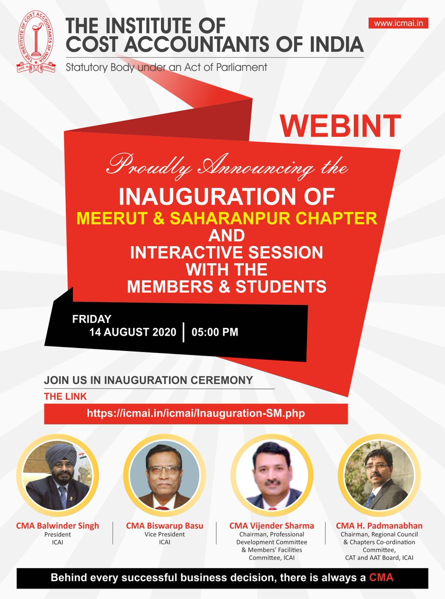 Inauguration of Meerut & Saharanpur Chapter and Interaction with the Members & Students on 14 August 2020 at 05:00 PM https://t.co/BWDyX44HW1