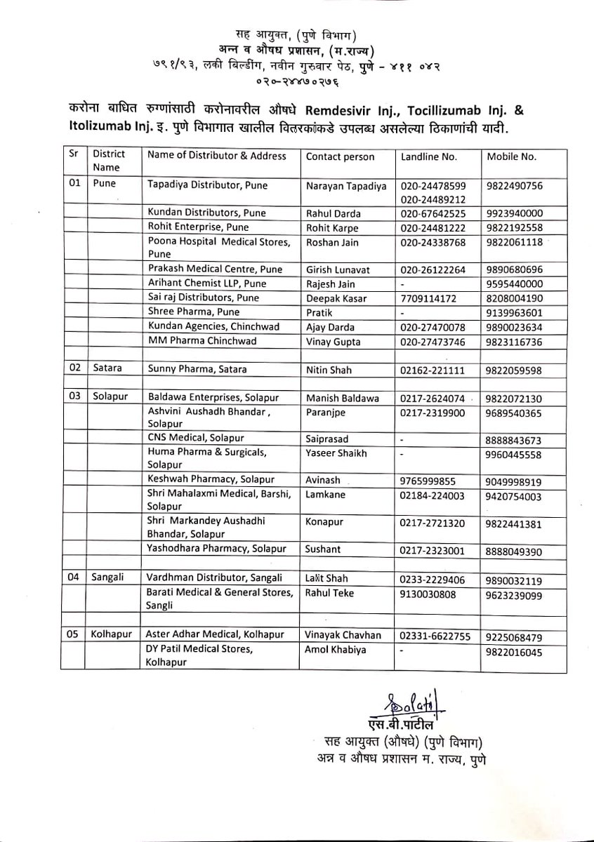 List of medicals and their contact details where you can get below medicine/injection in #Pune  #Remdesivir  #tocilizumab  #itolizumab . @blood4pune  @Info_Pune  @SmartPune  @newsFromPune  @Pune24x7pic.twitter.com/5juno7ufc0