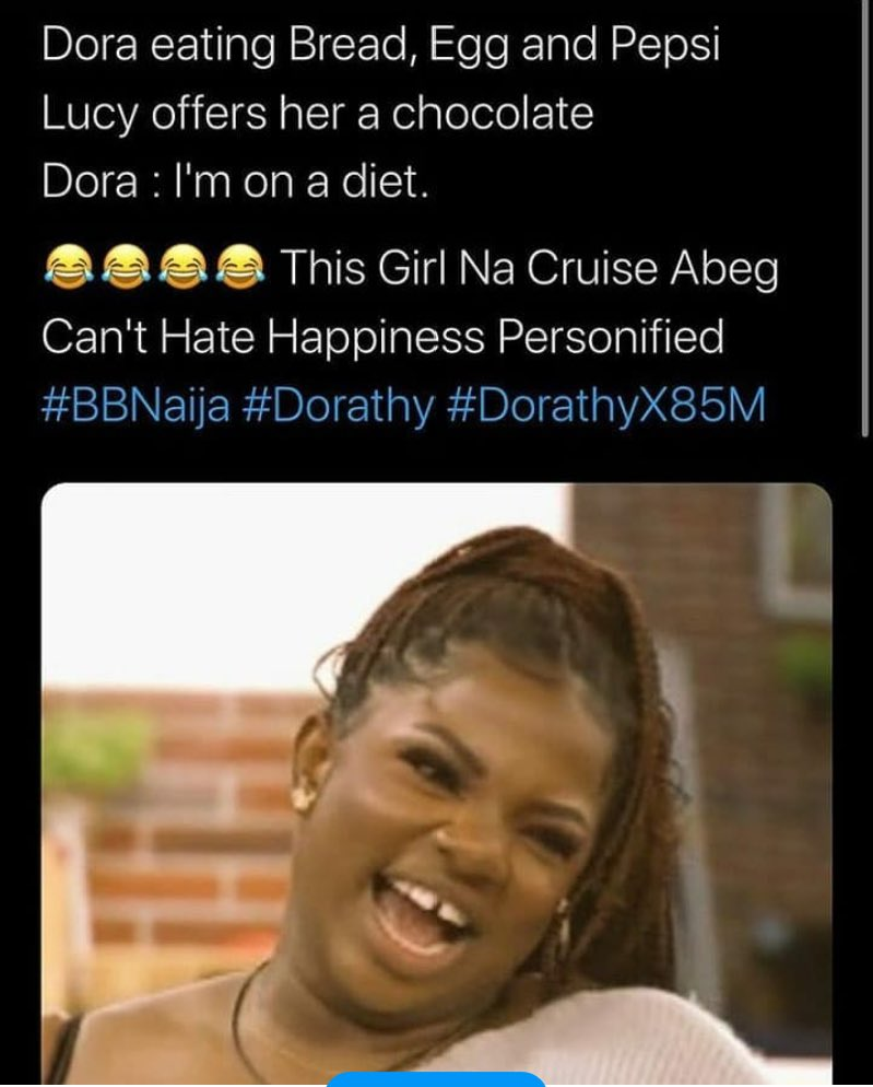 """""""VOTE Dorathy""""is the key this week. Let's go all out for our girl cos she is the content of the show #proudlyteamdorathy #FocusOnDorathy #BBNaija #bbnaijalockdown2020pic.twitter.com/RR84RWyZkP"""