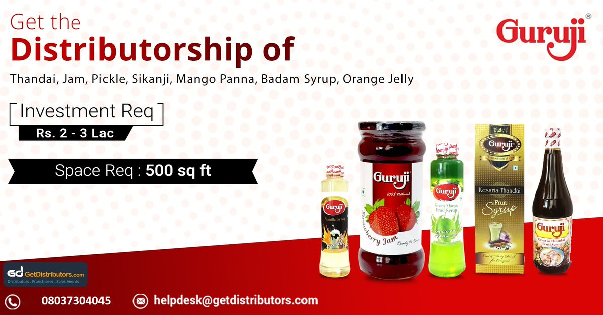 Get the #distributorship of #Thandai, #Jam, #Pickle, #Sikanji, Mango Panna, Badam Syrup & Orange Jelly, under the brand name GURUJI. Interested people can share their contact details to grab this #BusinessOpportunity.  #Beverages #FoodProducts #MangoPanna #BadamSyrup #OrangeJellypic.twitter.com/AhCEmdWrRQ
