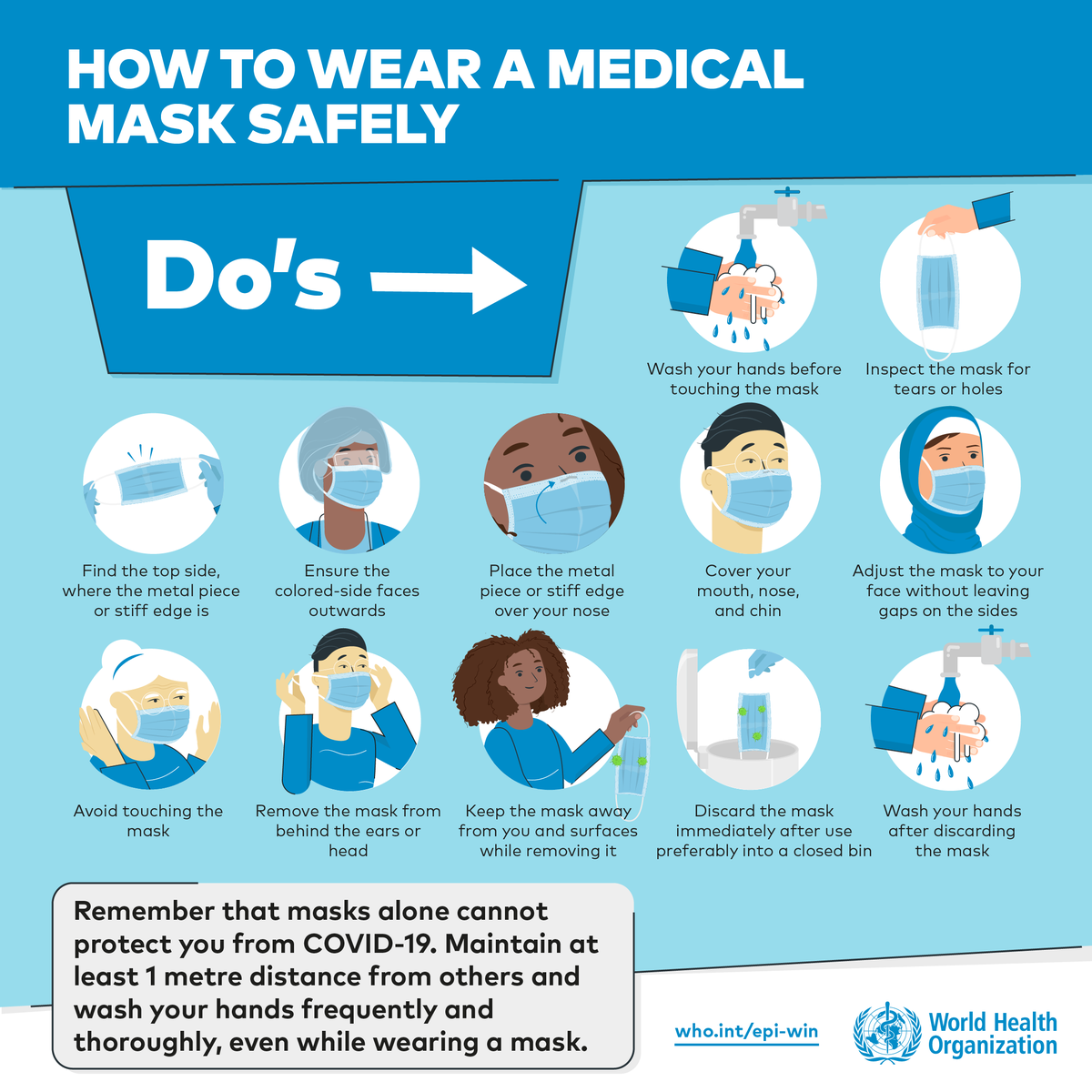 😷 How to wear a medical mask safely: Do's More: bit.ly/2TcBG0Q #COVID19 #WearAMask