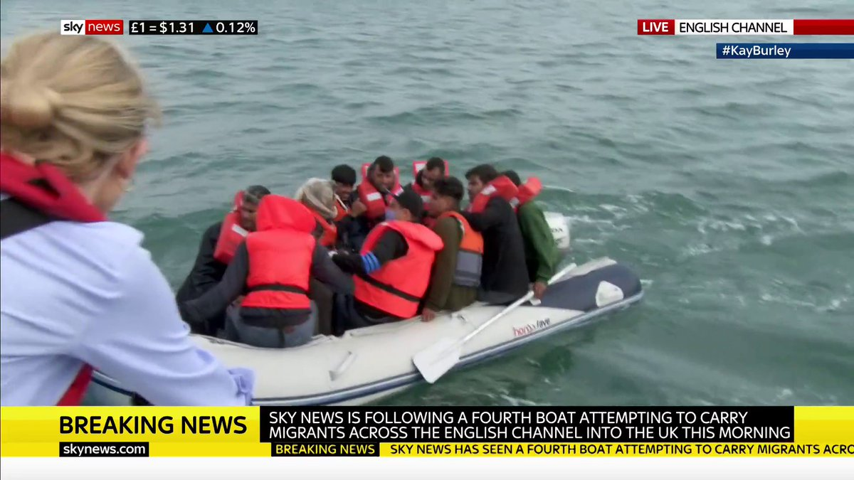 "Fourth boat of illegal immigrants on its way to the Kent coast this morning! This after @PritiPatel's PR visit to Dover yesterday to ""see first-hand how Border Force ""intercepting"" small boats in the Channel."" Open Door Britain. Unacceptable."