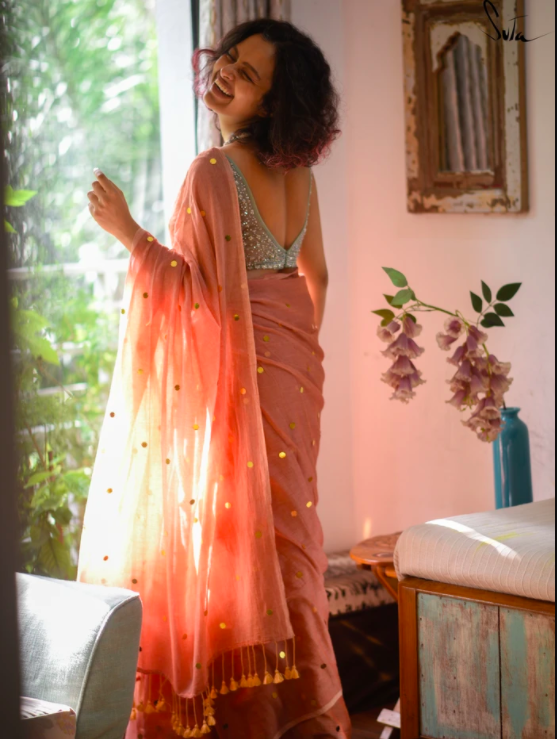 SUNSET STAR  This made-in-heaven mul saree in orange with glitters shines like the sunset sky.  Shop now at https://suta.in/collections/the-magic-of-stars/products/sunset-star…  #mulmul #stars #magic #stardust #chumki #handmade #newlaunch #newarrivals #newcollection #glitter #shinepic.twitter.com/htA81aW6To