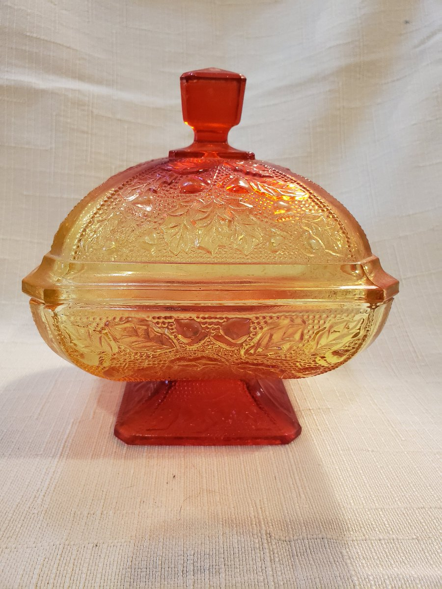 Vintage Unsigned Amber Carnival Glass Raised Pedestal Candy Dish Pressed Glass Fall Leaf Pattern https://etsy.me/2V1Zl4T #Vintage #Antiques #Collectibles #Etsy #AtticEsoterica #Candypic.twitter.com/u71U8RubXh