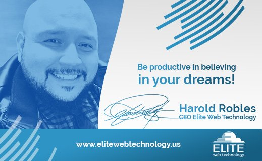 Be productive in believing in your dreams!  Harold Robles  CEO Elite Web Technology  #dreamscometrue #ceo #ceolife #entrepreneur #business #businessman #businesswoman #bosslady #bossman #president #coo #generalmanager  #elitewebtechnologypic.twitter.com/cSDezXC1ew