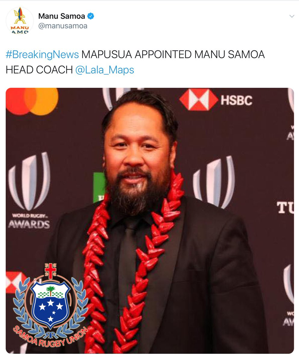 Some great news coming out of Samoa with the appointment of 2 legends to the XVs & 7s Head coaching roles, Seilala Mapusua @Lala_Maps & Brian Lima respectively 🇼🇸🇼🇸🇼🇸 https://t.co/7IH32Y0is9