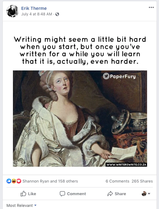 Hey, if it were easy, everyone would do it, right? #write #writer #bookspic.twitter.com/YM7ClxrFJM