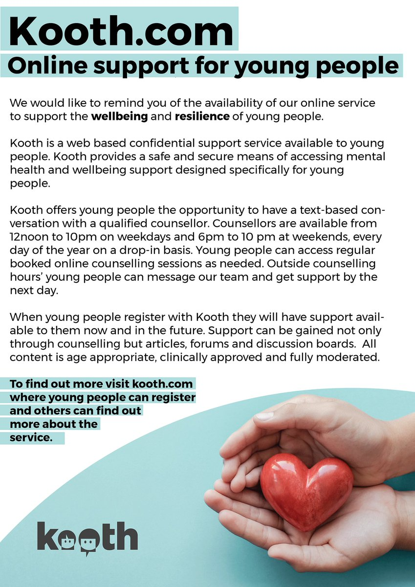 Kooth is an award winning online counselling and support service available to young people aged 10-18 and to care leavers up to the age of 25. It is a safe, confidential and anonymous way for you to get emotional wellbeing and mental health support Kooth.com