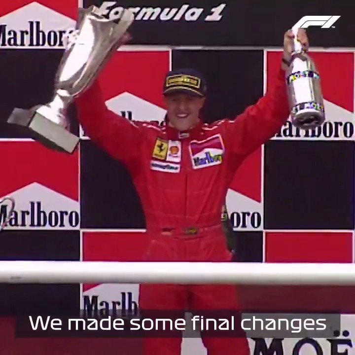 Michael's first win for @ScuderiaFerrari ❤️  Schumacher's maiden victory in red was one of his greatest-ever drives in F1 💪  #SpanishGP 🇪🇸 #F1 https://t.co/TChHogEzz0