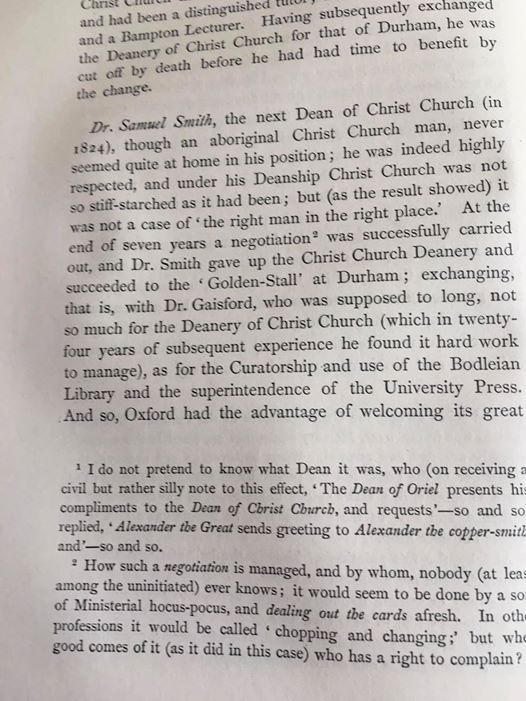 At the end of seven years a negotiation was successfully carried out. Unlike between Christ Church and the present Dean, which is becoming a seven-year negotiation. Footnote #2 is interesting: we now know far more of the Censors dark arts. (h/t @RobinWa01061978 for this gem.)