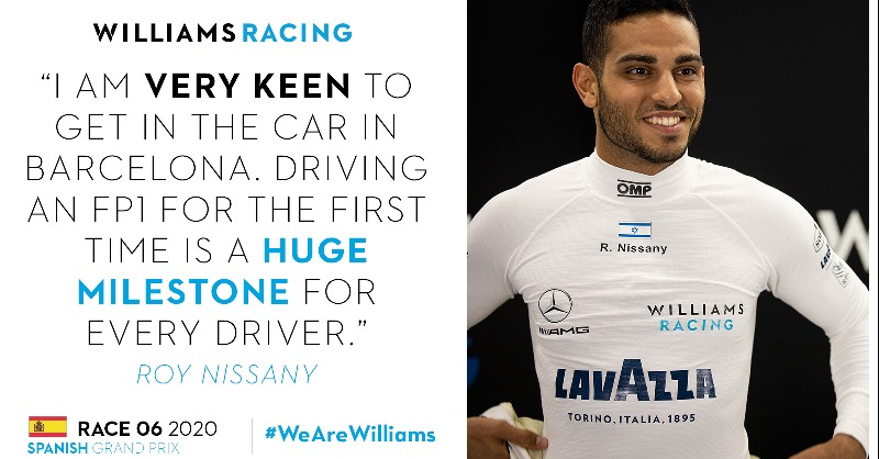 #F1 | @WilliamsRacing announces its official test driver @RoyNissany will make his #FP1 debut at #SpanishGP 🇪🇸, next Friday, August 14th. The Israeli 🇮🇱, currently racer for Trident in @FIA_F2, will be at the wheel of @GeorgeRussell63´s #FW43. #WeAreWilliams 📸 Willliams https://t.co/7kQ5sE2Yww
