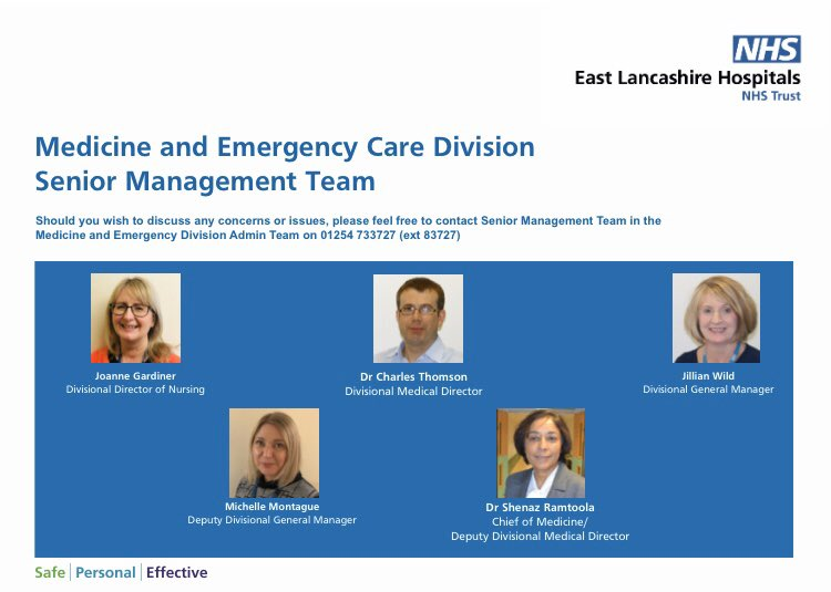 ABOUT US: Meet our Senior Management Team in MEC, here to help you at ELHT #Safe #Personal #Effectivepic.twitter.com/R0WVHRMZGR