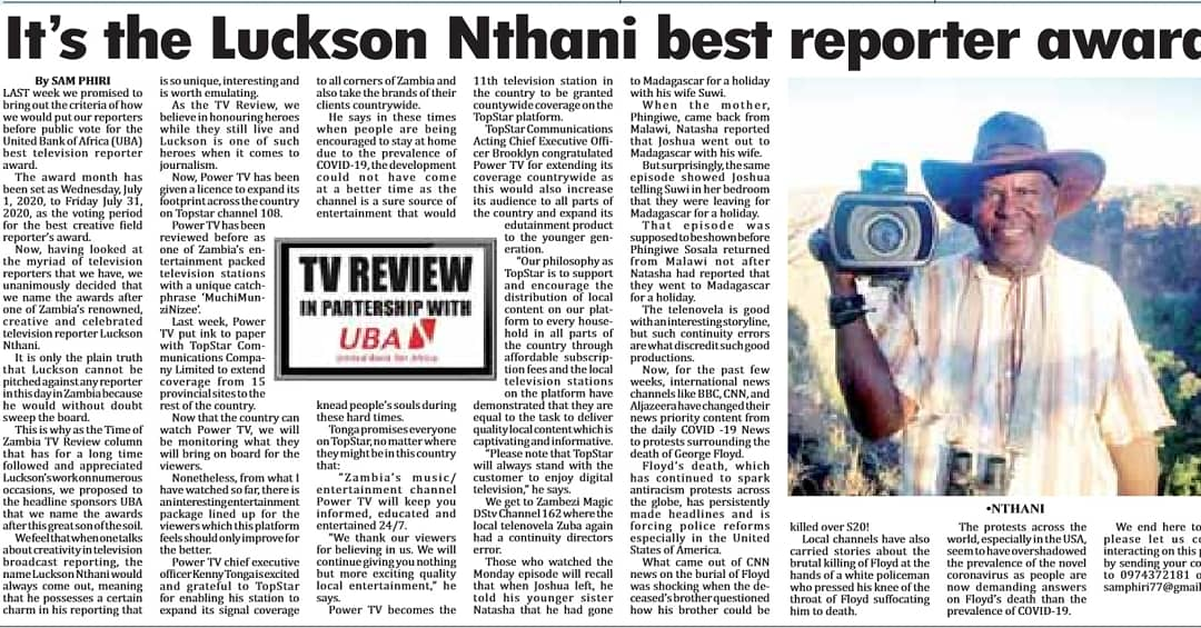 The Luckson Nthani  Award is the epitome of ZNBC Creative Field Reporting. This award celebrates the Creativity and Ingenuity of renowned journalists. UBA not only recognizes but awards outstanding local talent and initiatives. #UBAxTimesofZambiaTVReview  #UBAZambia https://t.co/BBMUNaB1wU